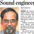 Sound engineer Sridhar dead